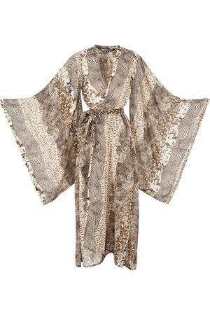 Women Kimonos - Women's Artisanal Ivory Impala Kimono Medium Jennafer Grace