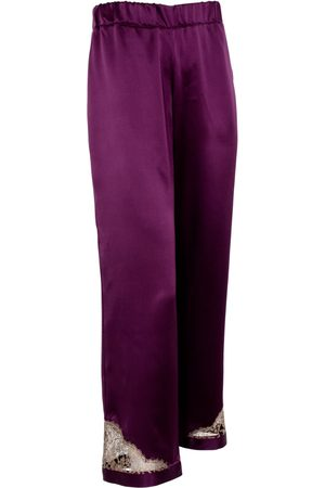 Women Pajamas - Women's Artisanal Pink/Purple Silk Cleo Garnet Pyjama Trouser Large Emma Harris