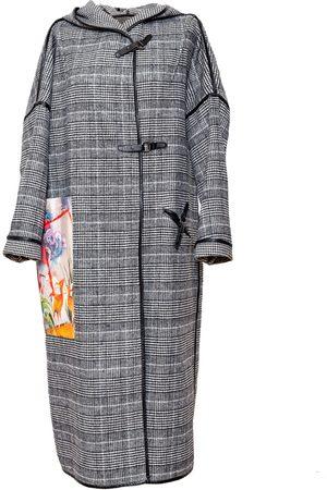 Women's Artisanal Grey Leather Hunter Coat Large ARTISTA