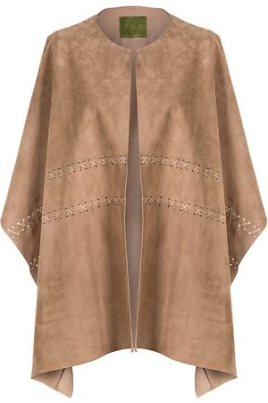 Women Leather Jackets - Women's Artisanal Natural Leather Suede Ruana Shawl - Beige ZUT London
