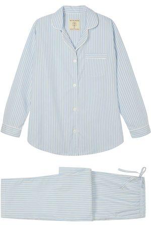 Organic Ivory Cotton Women's Seaside Stripe Pyjama Set Large British Boxers