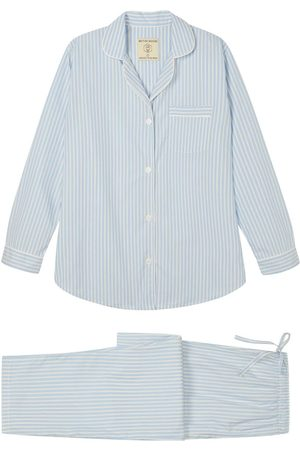 Women Pajamas - Organic Ivory Cotton Women's Seaside Stripe Pyjama Set Small British Boxers