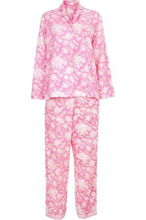 Women Sweats - Women's Artisanal Pink Cotton Hand Printed Pj's - - Hibiscus Large NoLoGo-chic