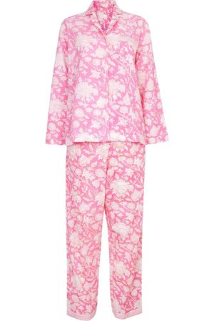 Women's Artisanal Pink Cotton Hand Printed Pj's - - Hibiscus Medium NoLoGo-chic