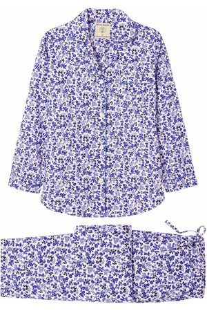 Organic Blue Cotton Women's Rosy Posy Pajama Set Large British Boxers