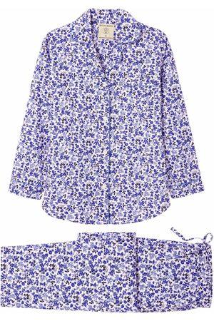Women Pajamas - Organic Blue Cotton Women's Rosy Posy Pajama Set Small British Boxers
