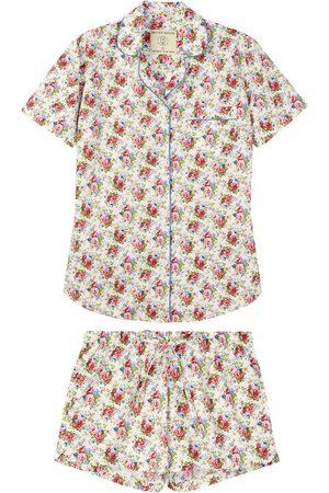 Women Pajamas - Organic Rose Cotton Women's Rosy Posy Short Pajama Set Large British Boxers