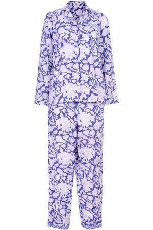 Women's Artisanal Blue Cotton Hand Printed Pj's - - China Large NoLoGo-chic
