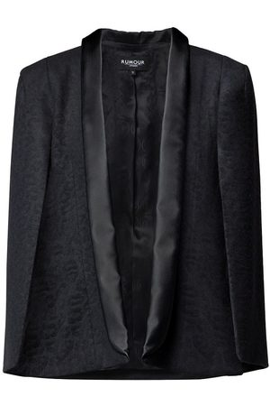 Women Ponchos & Capes - Women's Low-Impact Black Wool Stephanie Tuxedo-Style Cape With Animal Jacquard Pattern Large Rumour London