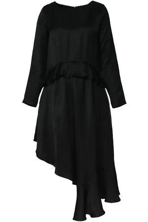 Women Asymmetrical Dresses - Women's Black Asymmetrical Midi Dress With Ruffles Medium BLUZAT