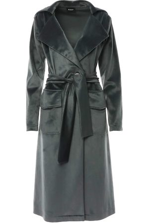Women Trench Coats - Women's Grey Velvet Trench Coat With One Button Closure & Waist Tie Medium BLUZAT