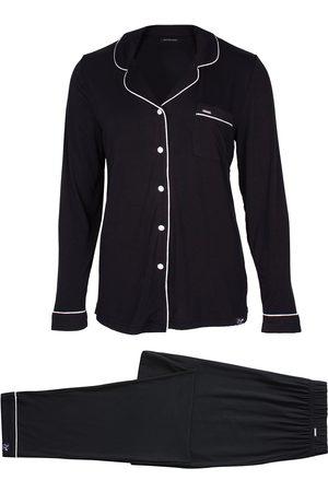Women Pajamas - Women's Low-Impact Black Bamboo Long Sleeved Trouser Pyjama Set In XS Pretty You London