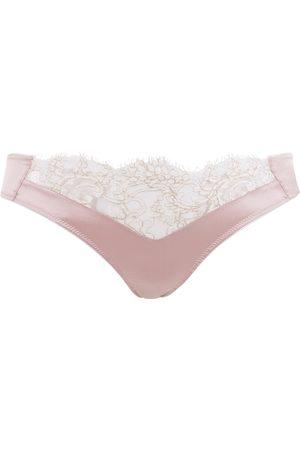 Women Thongs - Women's Artisanal Pink/Purple Silk Melody Thong Large Emma Harris