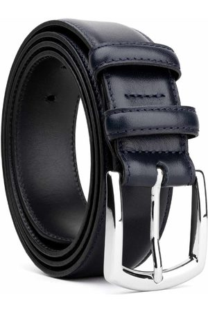 Men's Carbon Neutral Blue Brass Classic Leather Belt Sandro 40in Dalgado