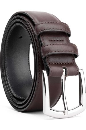 Men's Carbon Neutral Brown Brass Classic Leather Belt Dark Manolo 44in Dalgado