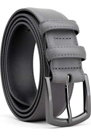 Men's Carbon Neutral Grey Brass Classic Leather Belt Dark Tommaso 40in Dalgado