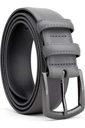Men's Carbon Neutral Grey Brass Classic Leather Belt Dark Tommaso 44in Dalgado