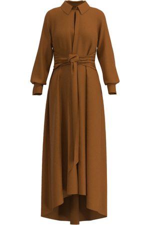 Women Casual Dresses - Women's Copper Silk Aria Midi Shirt Dress Medium Ethereal London