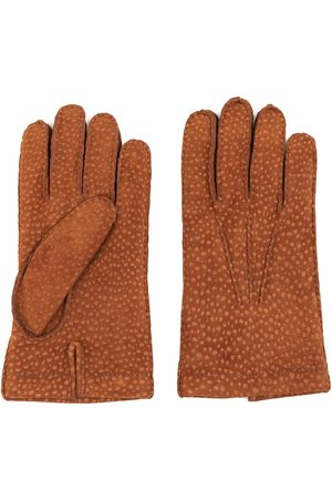 Men Gloves - Men's Carbon Neutral Brown Cashmere Lined Carpincho Leather Gloves Tobacco Davide 8.5in Dalgado