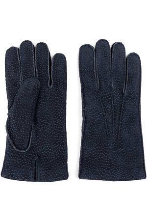 Men Gloves - Men's Carbon Neutral Blue Cashmere lined Carpincho Leather Gloves Enzo 8.5in Dalgado