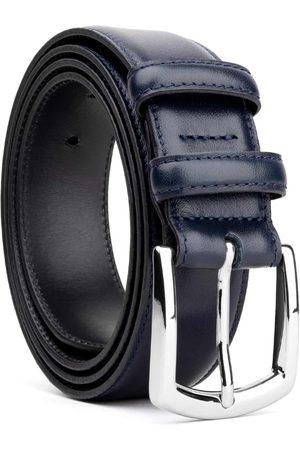 Men's Carbon Neutral Blue Brass Classic Leather Belt Deep Gustavo 42in Dalgado