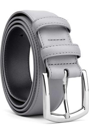 Men Belts - Men's Carbon Neutral Grey Brass Classic Leather Belt Baldassare 44in Dalgado