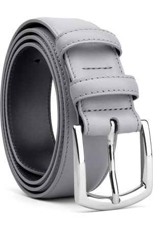 Men's Carbon Neutral Grey Brass Classic Leather Belt Baldassare 38in Dalgado