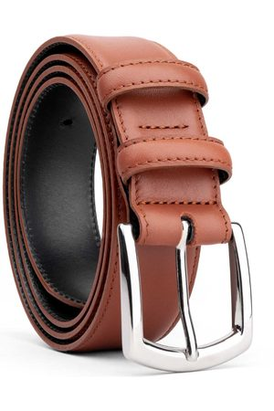 Men's Carbon Neutral Brown Brass Classic Leather Belt Cognac Silvio 38in Dalgado