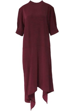 Women Asymmetrical Dresses - Women's Red Cotton Asymmetrical Blend Midi Dress XS BLUZAT