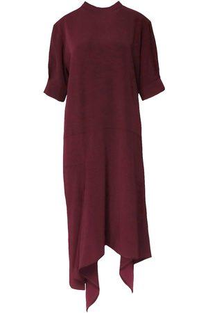 Women's Red Cotton Asymmetrical Blend Midi Dress Medium BLUZAT