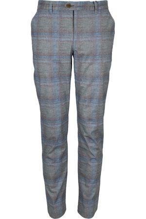 Men Chinos - Men's Blue Cotton Jack Lux Tartan Fog Pant 33in Lords of Harlech