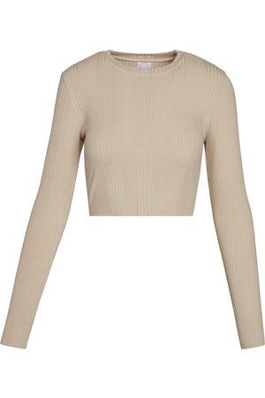 Women's Vegan Black Cotton Crop 001 - Beige Large black white beige