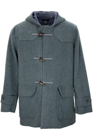 Men Duffle Coat - Men's Teal Wool Devon Merino Coat Large Lords of Harlech