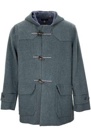 Men Duffle Coat - Men's Teal Wool Devon Merino Coat Medium Lords of Harlech