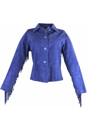Women Leather Jackets - Women's Artisanal Blue Leather Hand Beaded & Fringed Fitted Jacket Small ZUT London
