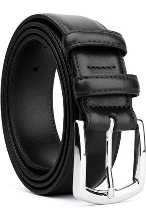 Men Belts - Men's Carbon Neutral Black Brass Classic Leather Belt - Roberto 44in Dalgado