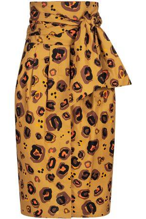 Women Printed Skirts - Women's Non-Toxic Dyes Black Cotton Skirt With Button Bar & Safari Print XXL Marianna Déri