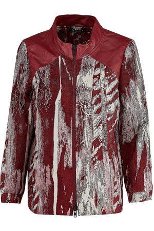 Women's Artisanal Red Cotton Luna Leather & Bomber Jacket Medium Manley