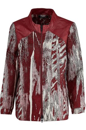 Women's Artisanal Red Cotton Luna Leather & Bomber Jacket Small Manley