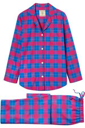 Women Pajamas - Organic Pink Cotton Women's Tartan Brushed Pyjama Set Small British Boxers