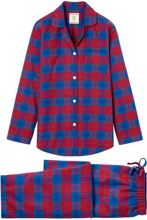 Women Pajamas - Organic Red Cotton Women's Bordeaux Brushed Pyjama Set XS British Boxers