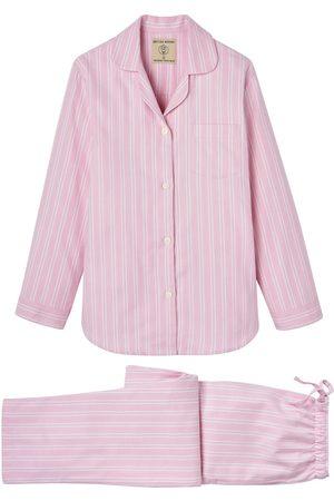 Women Pajamas - Organic Pink Cotton Women's Westwood Stripe Brushed Pyjama Set XL British Boxers