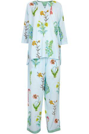 Women Pajamas - Women's Artisanal Blue Cotton Botanical Pyjama - Pure - Persian Large NoLoGo-chic