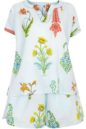 Women Pajamas - Women's Artisanal Blue Cotton Botanical Pyjama Shorts - Pure -Persian Medium NoLoGo-chic