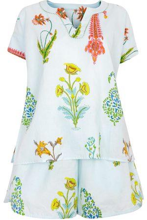 Women Pajamas - Women's Artisanal Blue Cotton Botanical Pyjama Shorts - Pure -Persian XXL NoLoGo-chic