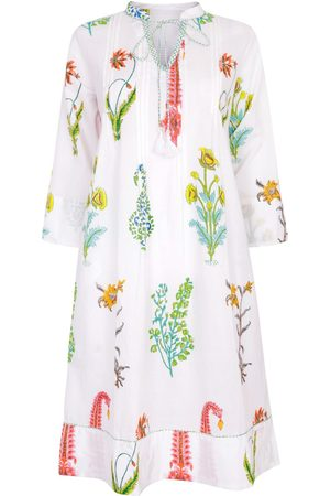 Women Tunic Dresses - Women's Artisanal White Cotton Botanical Tunic Dress - Pure 4XL NoLoGo-chic