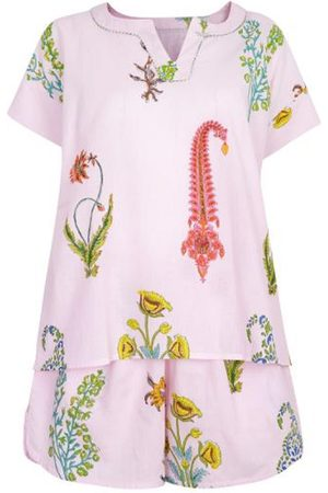 Women Pajamas - Women's Artisanal Pink Cotton Botanical Pyjama Shorts - Pure - Dusky Medium NoLoGo-chic