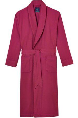 Men Boxer Shorts - Organic Red Cotton Men's Rioja Herringbone Brushed Dressing Gown Medium British Boxers