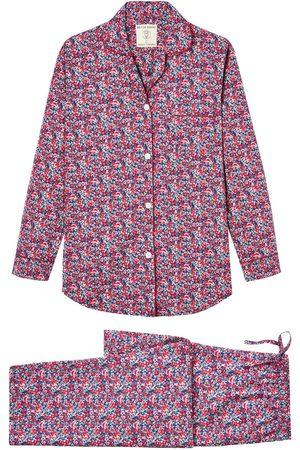 Women Pajamas - Organic Blue Cotton Women's Blooming Marvellous Pyjama Set Medium British Boxers