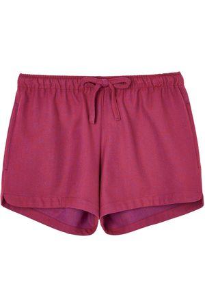 Women Pajamas - Organic Red Cotton Women's Rioja Herringbone Brushed Pyjama Shorts Small British Boxers